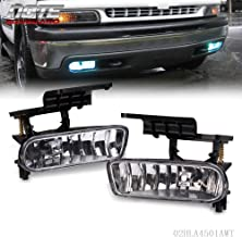 For 1999-2002 Chevy Silverado 1500 2500/2001-2002 Silverado 3500/2000-2006 Suburban Tahoe Driver Passenger Side Clear Bumper Fog Light Halogen Lamps Replacement With Bulbs