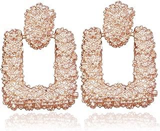 RechicGu Relief Floral Door Knocker Hoop Earrings Bold Rectangler Chunky Runway Baroque