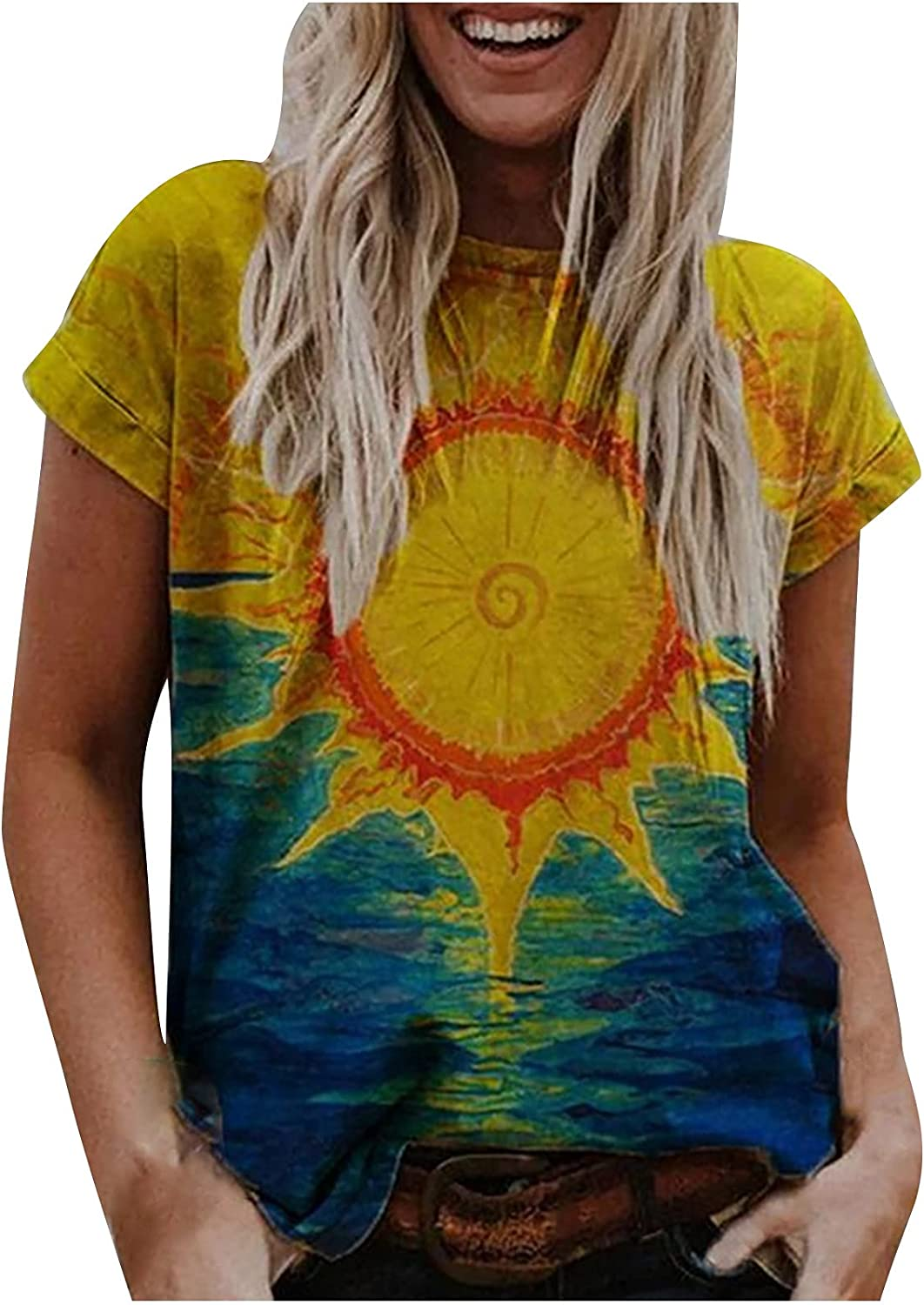 TARIENDY Colorful Tshirt for Women Tie Dye Tees Short Sleeve T Shirt Round Neck Pullover Loose Tops