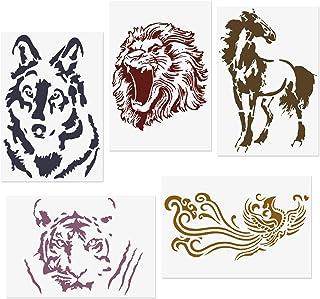 COODHI 5 Packungen Tierschablonen L?we, Tiger, Pferd, Wolf,