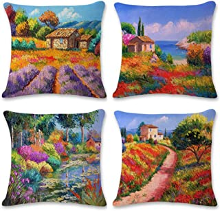 Emvency Set of 4 Linen Throw Pillow Covers 18x18 Inches Home Decorative Cushion Oil Painting Village Colourful Countryside Cottages Farmhouse Pillow Cases Square Pillocases for Bed Sofa
