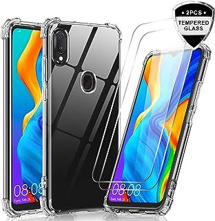 LeYi Funda Samsung Galaxy A20e con Cristal Templado [2-Unidades], Carcasa Armor Transparente Silicona Soft Skin TPU Gel Bumper Ultra Slim Case Antigolpes Protector Cover para Movil A20e Clear
