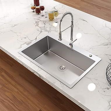 MENSARJOR Topmount Kitchen Sink, 33 x 22 inch Drop-in or Topmount 16 Gauge R10 SUS304 Stainless Steel Topmount Kitchen Sink S