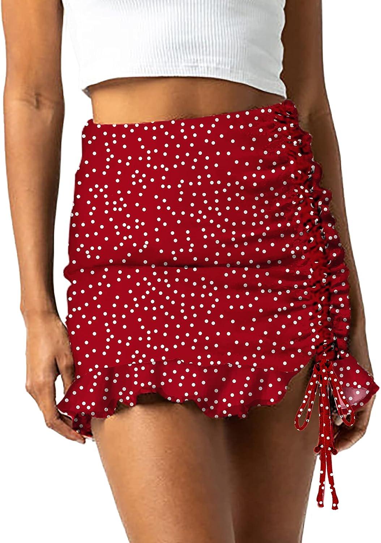 Relipop Women's Summer Skirt Floral/Dot Print Elastic Wasit Side Drawstring Stitched Ruffle Hem Short Mini Skirts