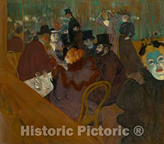 Historic Pictoric Print : at The Moulin Rouge, Henri de Toulouse-Lautrec, c 1894, Vintage Wall Decor : 44in x 39in