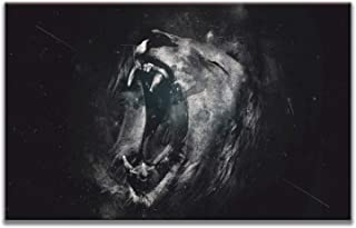 MuYu Art - Abstract Painting Giclee Prints Picture Wall Artwork Painting Black and White Lion Head Print On Canvas Wood Framed Hanging The Picture for Home Modern Decoration 24x36 inch