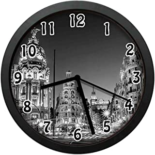 Madrid City at Nighttime in Spain Main Street Ancient Architecture,Black White Grey Wall Clock Nice for Gift or Office Home Unique Decorative Clock Wall Decor 10in with Frame