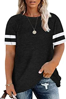 Sponsored Ad - Soesdemo Women Plus Size Short Sleeve Tunic Tops Color Block Causal Loose Fit T Shirts Blouse M-4XL