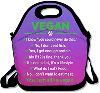 Portable Lightweight Lunchboxs Vegan I Am Still A Vegan Purple Insulated with Shoulder Strap Teens Girls Kids Adults Lunch Bag Tote Boxes Stylish for Outdoor Travel School Picnic