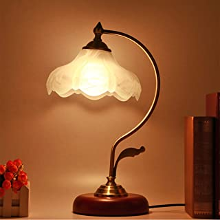 Vintage Desk Lamp, Handmade Retro Wooden Base, Exquisite Milk White Mangnolia Bloom Shape Looking Glass Shade, Antique Style Table Lights for Office, Libirary, Bedside Nightstand, Study Room (Wood)