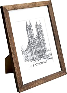 Ray & Chow A4 Rustic Brown Matted Picture Frame -Carbonized Black- Made to Display Pictures 6x8 inch with Mat or A4 Without Mat- Solid Wood- Glass Window- with Stand or Wall Hanging
