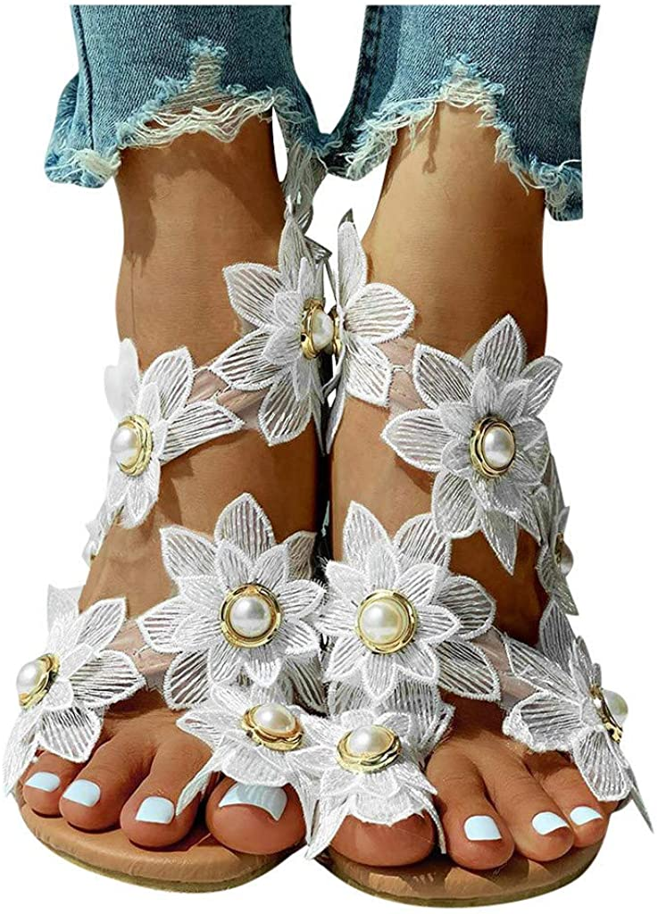 Limited price sale siilsaa Sandals for Women Dressy Flats Flip Flower F Beaded Flat quality assurance