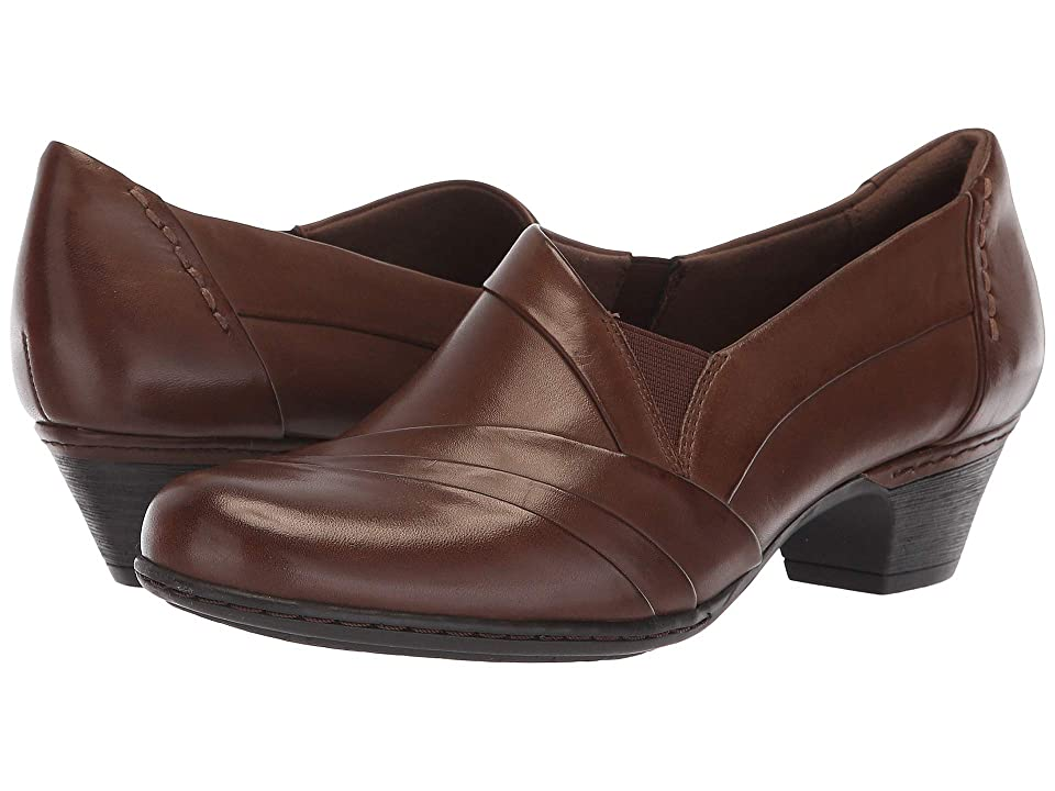 1940s Style Shoes, 40s Shoes Rockport Cobb Hill Collection Cobb Hill Abbott Slip-On Brown Leather Womens Shoes $124.95 AT vintagedancer.com