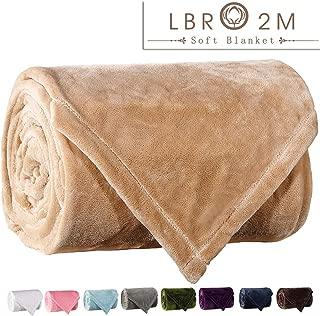LBRO2M Fleece Bed Blanket Queen Size Super Soft Warm Fuzzy Velvet Plush Throw Lightweight Cozy Couch Blankets (90x90 Inch) Cream