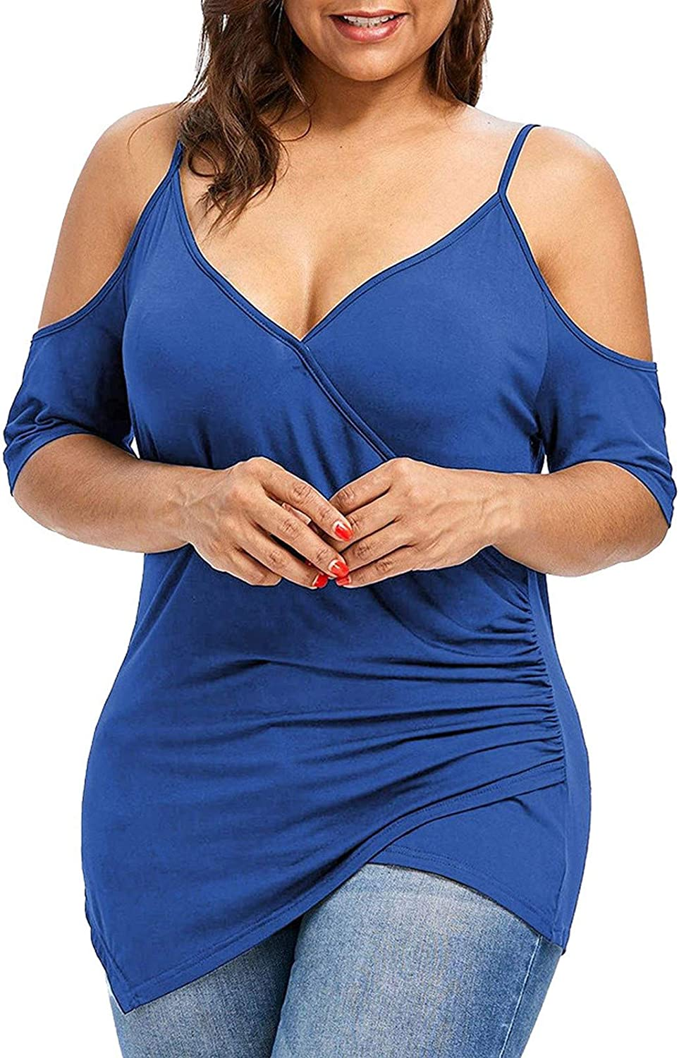 Womens Plus Size Tops and Blouses Deep V Off Shoulder Short Sleeve Cutout Asymmetric T Shirts Solid Color Tunics