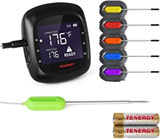 Tenergy Solis Digital Meat Thermometer, APP Controlled Wireless Bluetooth Smart BBQ Thermometer w/ 6 Stainless Steel Probe...