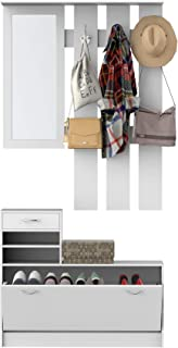 HOMCOM Ensemble de Meubles d'entrée Design Contemporain : Meuble Chaussures, Miroir et Panneau Porte-Manteau Panneaux de P...