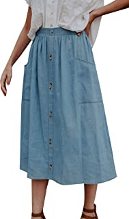ECOWISH Womens Polka-dot Pockets Pleated Skirt Vintage Puffy Swing Casual Dress