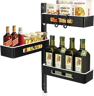 Todeco Support à Épices de Rangement de Cuisine à 3 Niveaux Réglable en Hauteur, Étagère de Rangement pour Salle de Bain s...
