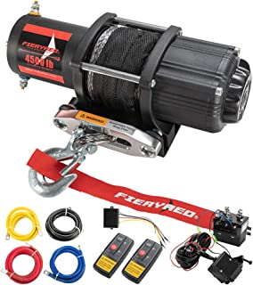 FIERYRED 12V 4500LBS Electric Synthetic Rope ATV Winch Kits for Towing ATV/UTV Off Road Trailer with Wireless Remote Control Mounting Bracket