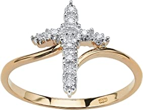 18K Yellow Gold over Sterling Silver Genuine Diamond Accent Cross Ring