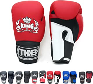 Top King Gloves Color Black White Red Blue Gold Size 8, 10, 12, 14, 16 oz Design Air, Empower, Superstar, and more for Training and Sparring Muay Thai, Boxing, Kickboxing, MMA