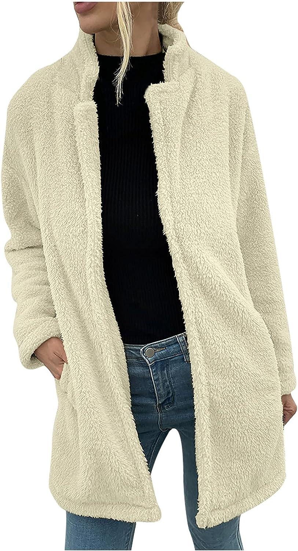 Women's Fashion Long Sleeve Lapel Faux Shearling Shaggy Oversized Cardigan Coat Jacket for Warm Winter Plush Outwear