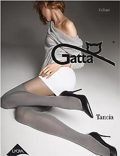 Gatta Tancia 11 - Top-modisch gemusterte grafitgraue Strumpfhose mit angesagtem Overknee-Look