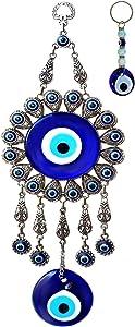 Evil Eye Wall Hanging: X-Large Double Blue Glass Ornament with Keychain - Turkish Greek Eye - Nazar Bead - Metal Home Decoration - Jewish Good Luck House Charm - Evil Eye Wall Decor