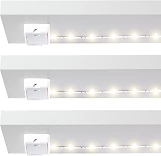 Luminoodle Click AA Battery Powered LED Push Lights - 3-Pack - for Kitchen, Closet, Pantry, Shelf Lighting - 36in. Wireless Stick Anywhere Adhesive String Tap Lights - Warm White (2700K)