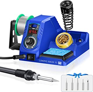Soldering Iron Station Kit, LONOVE Soldering Station w/ 392℉~896℉ Adjustable Temperature (C/F),10-Min Sleep Mode, LED Disp...