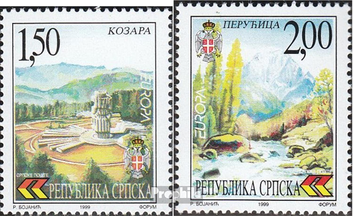 Serbian Republic bos.h 125126 (complete.issue.) 1999 Nature and National (Stamps for collectors) Landscapes