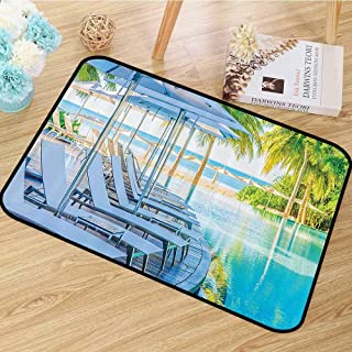 House Decor Collection Area Rug Luxury Hotel Pool Near Beach Palm Trees Exotic Resort Umbrella Sunbed Chair Picture Dining Room Home Bedroom W63 x L94 Green Aqua