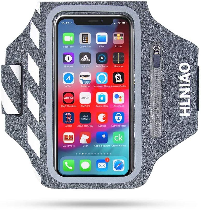 HLNIAO Cell Phone Armband for iPhone 11 PRO 8 Plus MAX XR 7 SE, Phone Arm Holder Touchable Screen for Men Women Running Exercise with Airpods Keys Cards Bag Gray