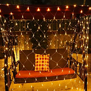 LED String Light Outdoor, Waterproof Dimmable Net Lights with Controller, Tree-wrap Net Mesh Lights with 8 Modes for Christmas Tree Wedding Garden (Warm White)
