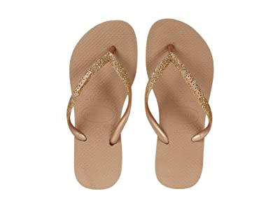 Havaianas Kids Slim Shiny Sandals (Little Kid/Big Kid) (Rose Gold) Girl
