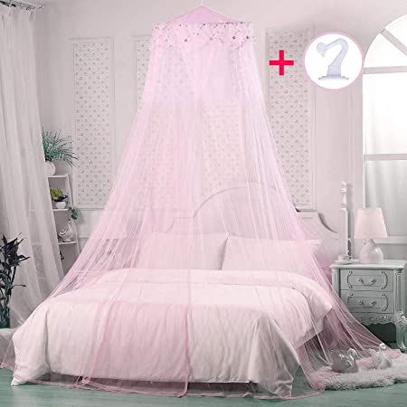 Princess Bed Canopies Netting Elegant Lace with 2 Butterflies for Decor Pink Petforu Mosquito Net Dome