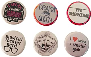 6 piece Theatre pins Broadway for purse or clothes Backpack Pins Buttons 1.25 Inch PinBack Buttons Boys or Girls birthday buttons for Back to School Play Theatre Theme Bohemian Style Buttons Pins
