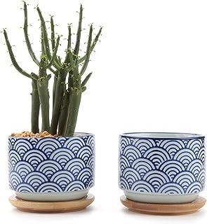 T4U Conjunto de 2 Estilo japonés de cerámica De Serie No.3 Cerámicos Planta Maceta Suculento Cactus Planta Maceta Planta Contenedor Vivero Maceta Macetas de jardín Macetas Envase