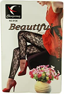 30 den Black Tights Blue Lily Flower Print 8-12 Ladies Floral /& Dot Pattern