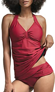 Women Tankini Two Pieces Set with Halterneck Padded Top and High Waisted Gathered Bottom Swimsuit