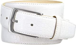 Joseph Nickel Finish Buckle Italian Leather Alligator Dress Belt 1-3/8 Wide