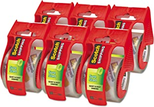 """Scotch Sure Start Shipping Packaging Tape, 6 Rolls with Dispenser, 1.88"""" x 22.2 Yards, 2"""" Core, Great for Packing, Shippin..."""