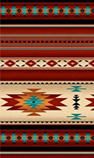 Southwest Terracotta Fabric, Teal Blanket Stripe, Navaho Designs, Tucson, by Yard