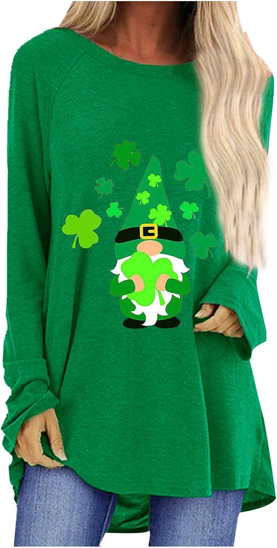 Irish Shamrock St. Patrick's Day Women Essential T-Shirt Round Neck Long Sleeve Short Sleeve T-Shirt Tops Tees
