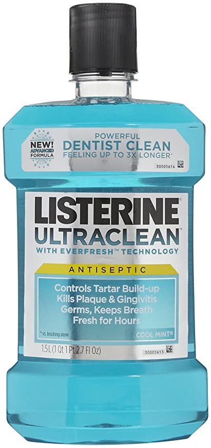 ぜいたく強風政治的Listerine UltraClean Mouthwash, 1.5 Liters, Cool Mint, 50.72 oz, 2 pk by Listerine