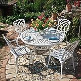 Lazy Susan - Alice 120 cm Runder Gartentisch mit 4 Stühlen - Gartenmöbel Set aus Metall, Weiß (Rose Stühle)