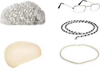 Old Lady Costume Granny Wig,Wig Cap,Madea Granny Glasses,Eyeglass Chains,Pearl Beads Accessories for Dress up