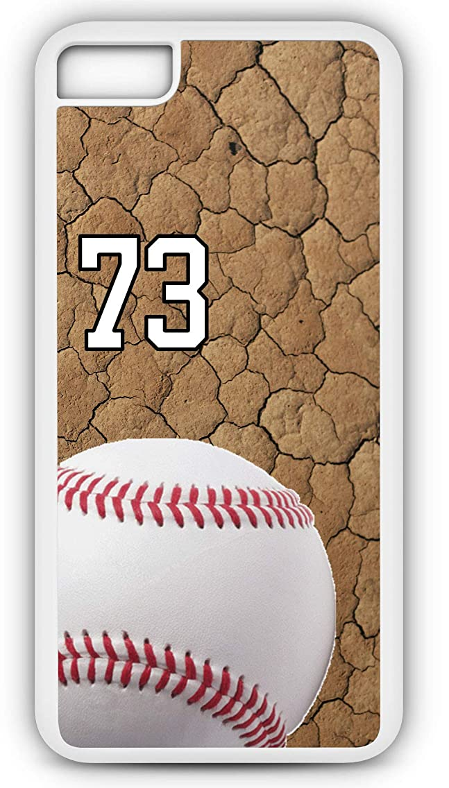 iPhone 7 Case Baseball B014Z Choice of Any Personalized Name or Number Tough Phone Case by TYD Designs in White Plastic and Black Rubber with Team Jersey Number 73