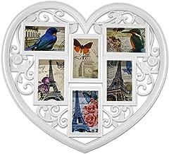 Bilderrahmen XXL Herzform 45x45 cm Collage 10 Bilder Fotorahmen Weiß Familie